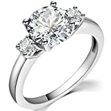 Jude Jewelers Stainless Steel Round Cut Three Stone Wedding Engagement Anniversary Promise Ring (Silver, 6)