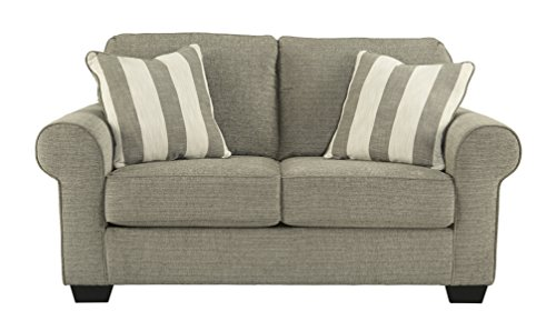 Ashley Furniture Signature Design - Baveria Traditional Style Rolled Arm Loveseat - Fog