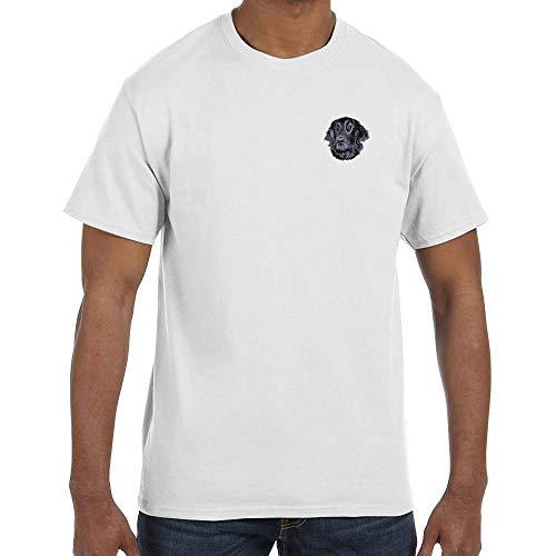 Cherrybrook Dog Breed Embroidered Mens T-Shirts - XXX-Large - White - Flat Coated ()