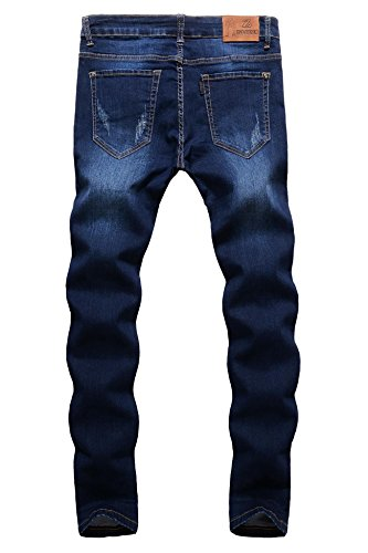 ZLZ Men's Ripped Skinny Distressed Destroyed Slim Fit Stretch Biker Jeans Pants with Holes (32, Blue)