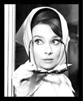 FRAMED Audrey Hepburn with Scarf and Sunglasses 24x18 Hollywood Icon Art Print - Hollywood Actress With Glasses