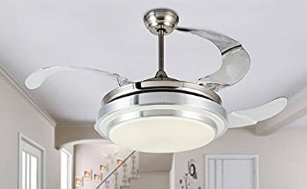 jubilant lifestyle modern crystal remote control transparent acrylic 4 blade retractable ceiling fan with chandelier lamp