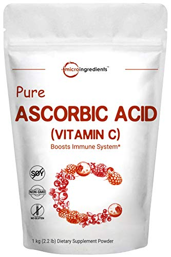 Acid Powder Ascorbic - Pure Ascorbic Acid Powder (Vitamin C), 1 Kg (2.2 Pounds), Best Antioxidant Powder for Making Serum or Adding to Smoothie, Pharmaceutical Grade, Non-GMO and Vegan Friendly
