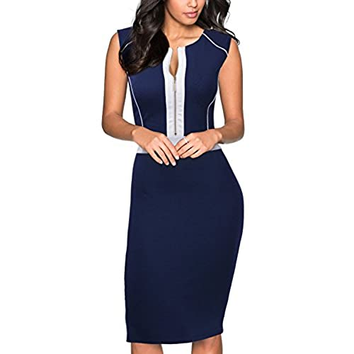 Miusol Womens Formal Scoop Neck Optical Illusion Fitted Bodycon Pencil Dress,Navy Blue,Medium