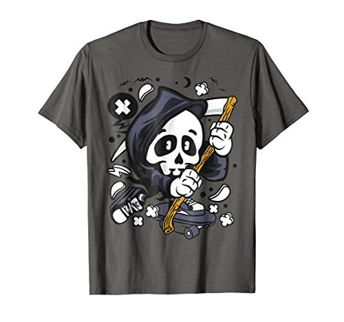 Cute Grim Reaper Skateboard Doodle TShirt Youth Kids -