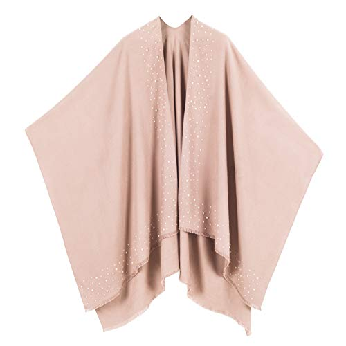 Cardigan Poncho Cape: Women Elegant Beige Solid Color Pearl Cardigan Shawl Wrap Sweater Coat for Winter (Beige with Pearl) ()