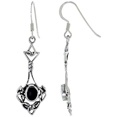 Sterling Silver Celtic Knot Earrings Oval Black Onyx,1 1/4 inch long