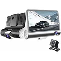 HOCHE Driving recorder , 1080P 3 Lens G-sensor HD Car DVR Dash Cam Video Recorder ,4 Dash Front, inside of car and Rear with 170+120° Angle Car Camera DVR Video Recorder with Free 32GB SD Card,Black