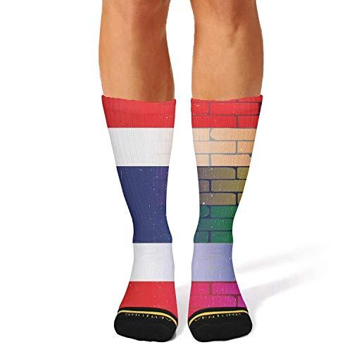 Milr Gile Unisex Gay rainbow wall thai flag Crew Tube Socks Crazy Novelty Socks High Athletic Socks