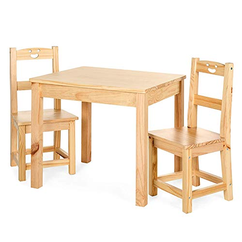 Siberryo Wooden Kids Table & Chair Set Natural Junior Table for Toddlers Ages 2-8 Years 3 Pieces Activity Table for Toddlers - Solid Wood Childrens Table Natural…
