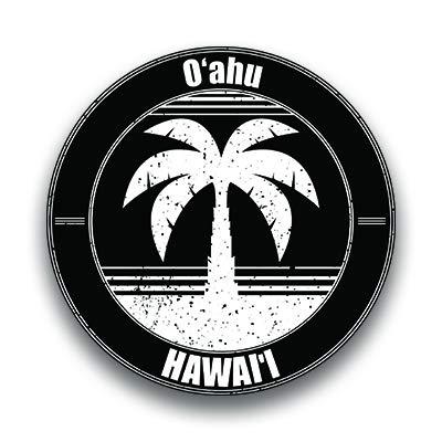 Oahu Hawai'i Vinyl Decal Sticker Vacation Explore Memory Souvenir Waterproof 2 Pack 3 Inch Round Premium Quality Vinyl UV Protective Laminate PD1814 (Best Hawaii Hikes Oahu)