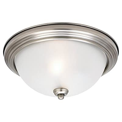Sea Gull Lighting 77064-965 2-Light Montclaire Close-to-Ceiling Fixture, Satin Etched Glass and Antique Brushed Nickel