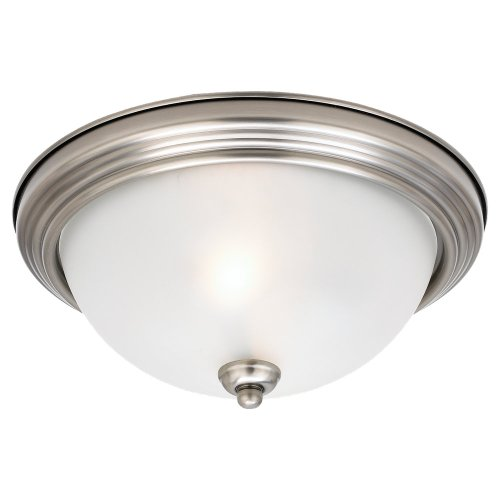 Sea Gull Lighting 77064-965 Two Light Flush Mount Ceiling Fixture, Antique Brushed ()