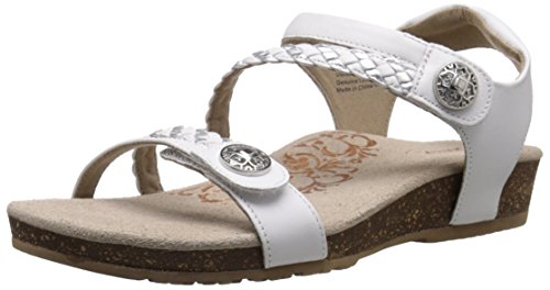 Aetrex Women's Jillian Q Braid Strap Dress Sandal, White, 8.5 M US