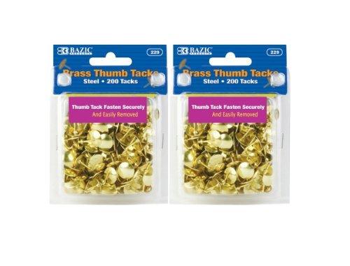 (BAZIC Brass Thumb Tack, Gold, 200 Per Pack, 2 Pack (400 Tacks))