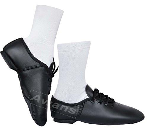 Noir De Jazz En Caoutchouc Danse Cuir Semelle Chaussures P0Tzqnxwz