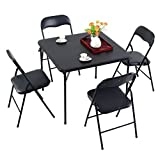 MD Group Dining Set Folding Black PVC & Steel Tube Dining and Gaming Home Furnitute