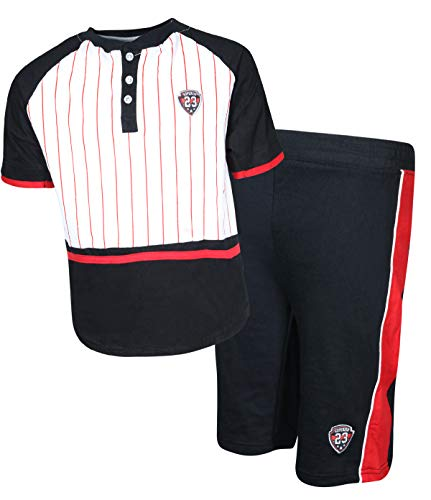 Quad Seven Boys 2-Piece French Terry Short Set with Matching Shirt, White Stripes, Size 8/10'