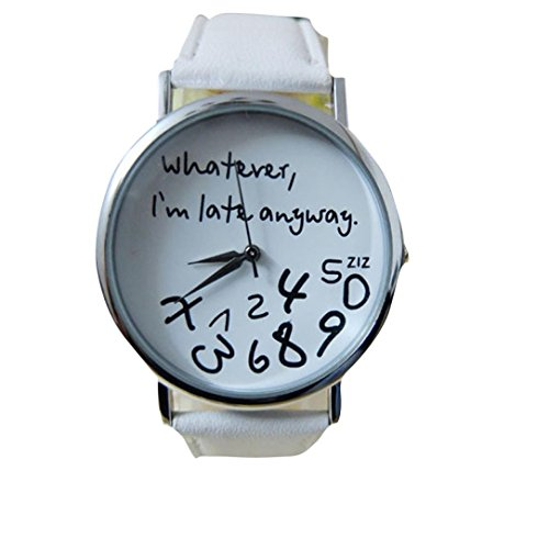 Women Leather Watch Whatever I am Late Anyway Letter Watches White - 6