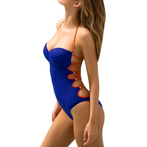 Ouneed Mujeres de alta calidad triángulo de una pieza bikini vendaje push-up traje de baño Azul