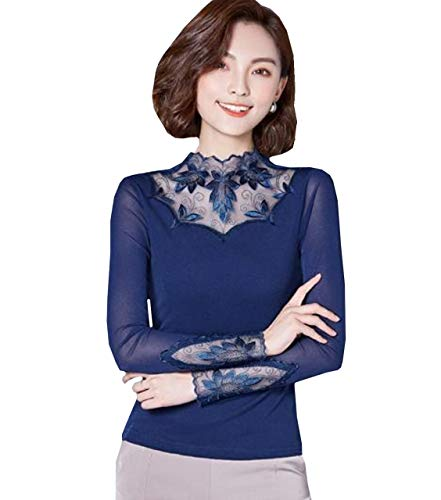 (Lapiness Women's Floral Lace Inner Tops Turtleneck Sheer Long Sleeve Sexy Blouse (Navy, 3XL))