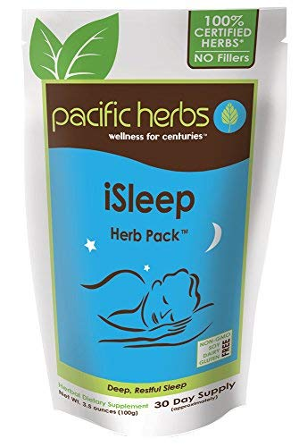 Pacific Herbs iSleep Herb Pack - All Natural Sleep Aid with Ziziphus - 30 Day Supply approx.) No Groggy Side Effects, Best all natural sleep aid,