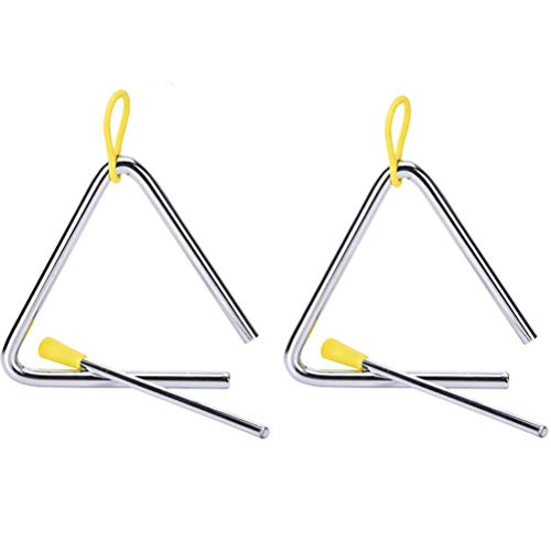 Buytra Music Triangle Instrument Set with Striker for Kids (4 inch- Pack of 2) Silver ()