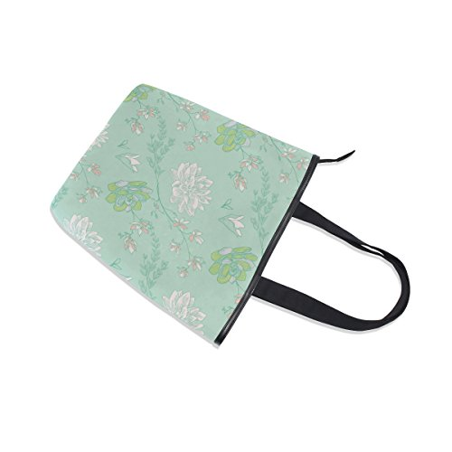Flower Womens MyDaily Drawn Shoulder Canvas Bag Tote Handbag Doodle Greenery XFXqC4