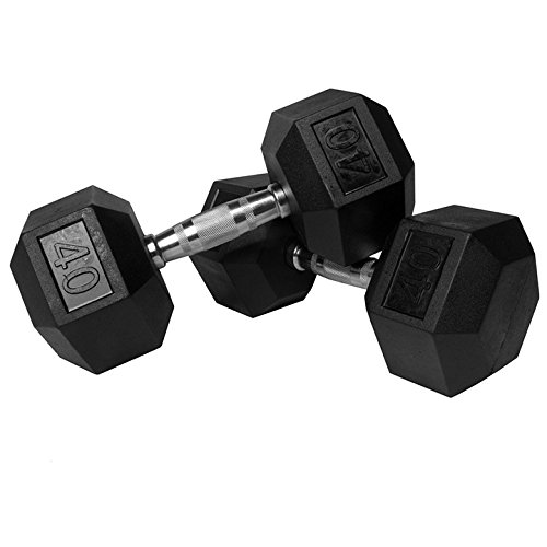 Lifeline Hex Rubber Dumbbell, 40 lb