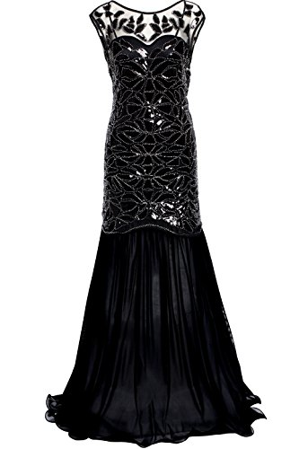BABEYOND Women's 1920s Long Prom Dresses Beaded Sequins Art Deco Evening Party