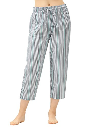 CYZ Women's 100% Cotton Woven Pajama Capri-SeamistStripe-L