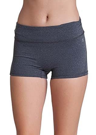 Woman Heather Gray Nylon Spandex Active Boy Shorts