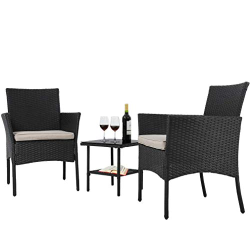 Wicker Patio Furniture 4 Piece Patio Set Chairs Wicker Sofa Outdoor Rattan Conversation Sets Bistro Set Coffee Table for Yard or Backyard