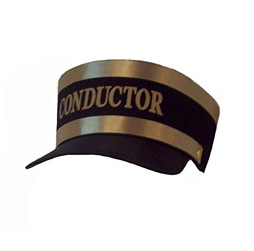 - Black Engineer Train Conductor Hat Cap w/ Gold Lettering & Trim