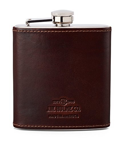 J.W. Hulme Leather Covered Liquor Flask, Stainless Steel, Leather-Wrapped, Hip Drinking Flask, American Heritage