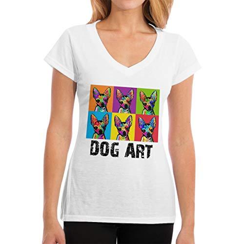 Dog Pop Art Pet Women's Casual Basic V-Neck Tshirt Short-Sleeves Tee Top S ()