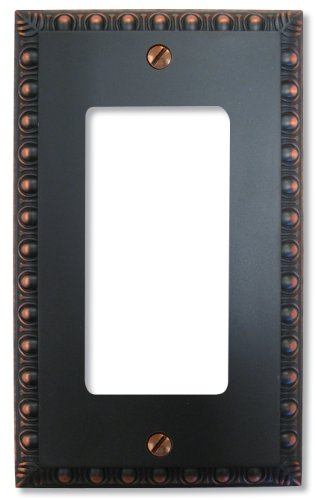 Renaissance Dark Bronze Wall - Amerelle Egg & Dart Single Rocker Cast Metal Wallplate in Aged Bronze