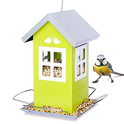 Bird Feeder House, Great Outdoor Garden Gift, Weatherproof Birdhouse Design, 4 Feeding Ports, Drains Rain Water to Keep Bird Seed Dry!