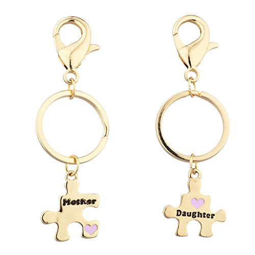 Bear Enamel Key Ring - Lux Accessories Gold Tone Mother Daughter Puzzle Pieces Charm Keychain Set 2PC