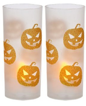 Jack O-lantern Tealight Holder (Glittery Halloween Candleholders with LED Tealight Candles ~ Pack of 2 (Jack-O-Lantern))