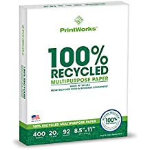 Printworks 100 Percent Recycled Multipurpose Paper, 20 Pound, 92 Bright, 8.5 x 11 Inches, 400 sheets (00018)