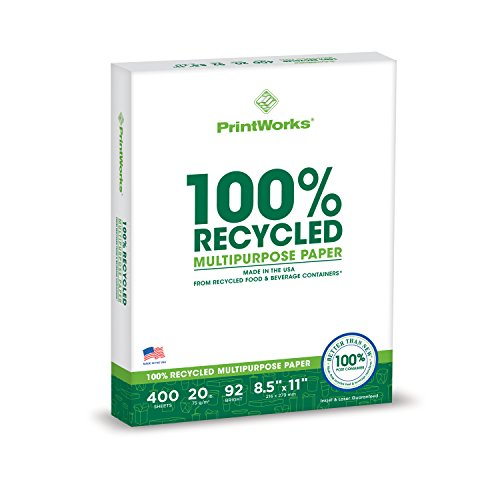 - Printworks 100 Percent Recycled Multipurpose Paper, 20 Pound, 92 Bright, 8.5 x 11 Inches, 400 sheets (00018)