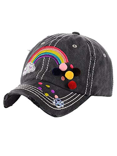 - NYFASHION101 Women's Distressed Unconstructed Embroidered Baseball Cap Dad Hat, Pom Rainbow, Black