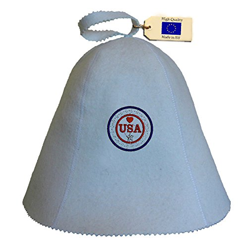 Allforsauna Sauna Hat Russian Banya Cap 100% Wool Felt Modern Lightweight Head Protection for Men and Women | USA Heart