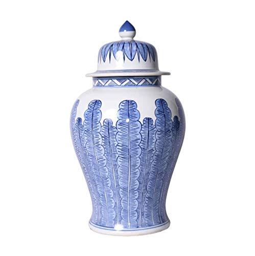 Traditional Blue & White Porcelain Temple Jar Banana Leaf Motif
