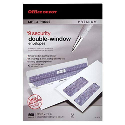 - Office Depot 100% Recycled Lift Press(TM) Double-Window Envelopes, 9 (3 7/8in. x 8 7/8in.), White, Pack of 500, 76169