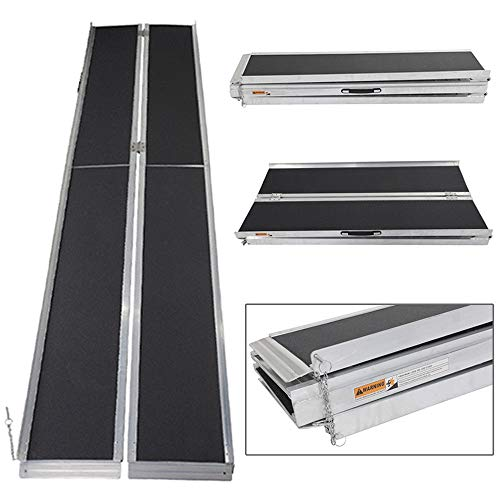10' ft Wheelchair Ramp Portable Aluminum Mobility Suitcase Design Slip Resistant Multifold ()