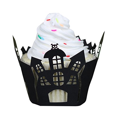 (DEESEE(TM) 50 Pcs Halloween Pumpkin Lace Cut Cupcake Wrapper Liner Baking Cup Muffin)