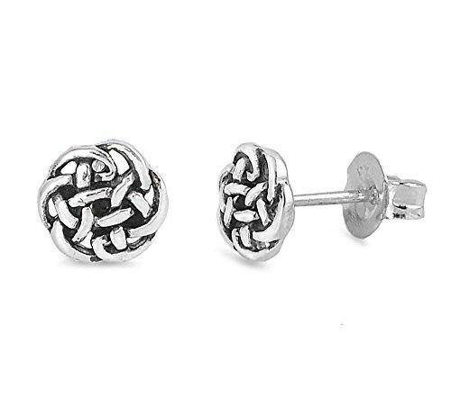 Celtic Silver Stud (Sterling Silver Celtic Knot Stud Earrings -)