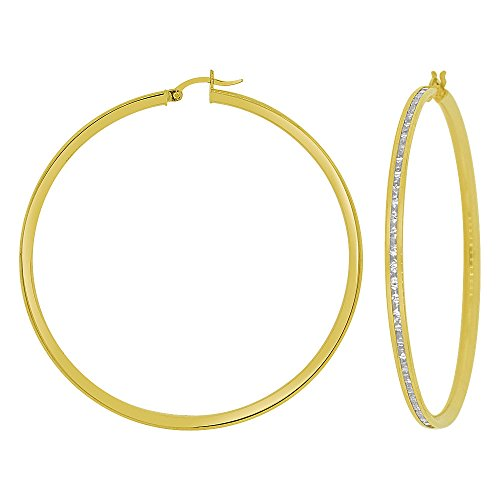 14k Yellow Gold, Round 3mm Channel Set Created CZ Earring 55mm Inner Diameter by GiveMeGold